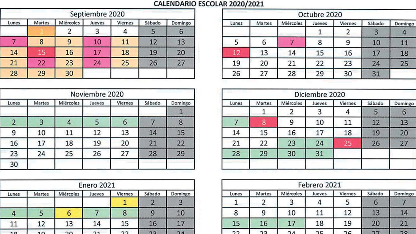 Calendario escolar para el curso 2020-2021