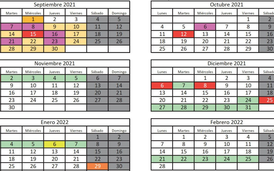 Calendario escolar para el curso 2021-2022